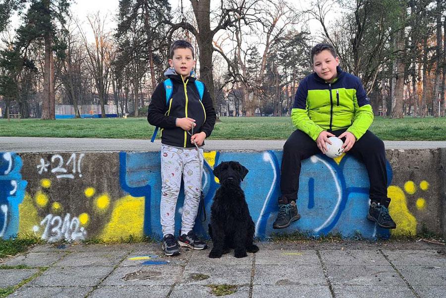 dva dječaka sjede na zidu u parku a između njih crni pas